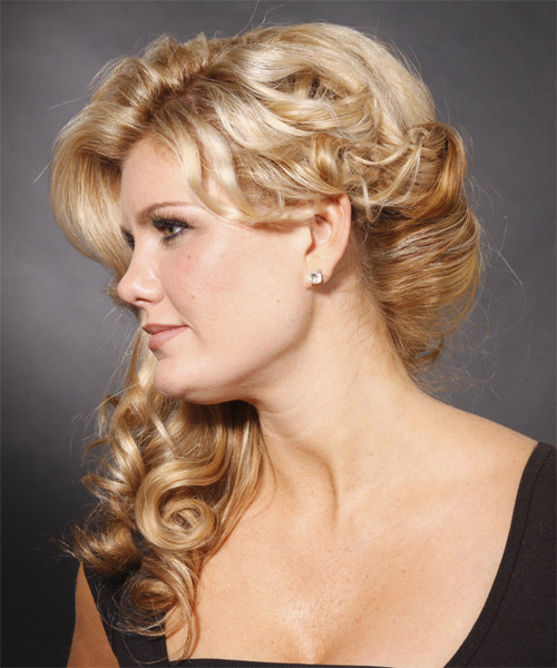 Long Wavy Formal Half Up Hairstyle - side view