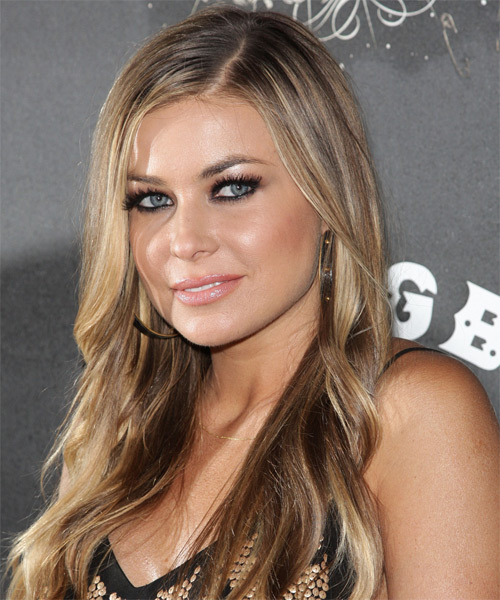 Carmen Electra Long Straight Hairstyle - Dark Blonde (Ash) - side view