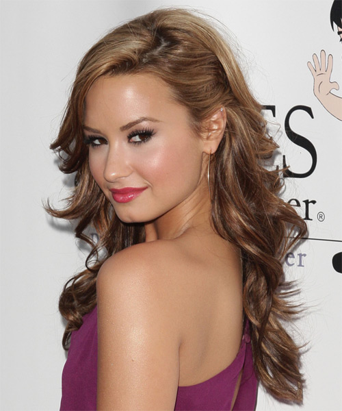 Demi Lovato Long Wavy Formal Half Up Hairstyle - side view