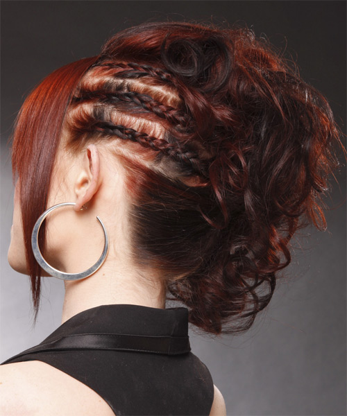 Formal Curly Updo Hairstyle - Medium Red - side view 1