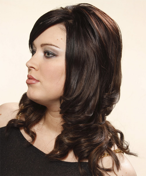 Long Wavy Formal Hairstyle With Side Swept Bangs Dark