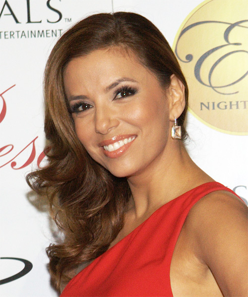 Eva Longoria Parker Long Wavy Hairstyle - Light Brunette (Caramel) - side view 1