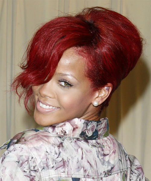 Rihanna  Curly Formal Updo Hairstyle with Side Swept Bangs - Medium Red Hair Color - side view