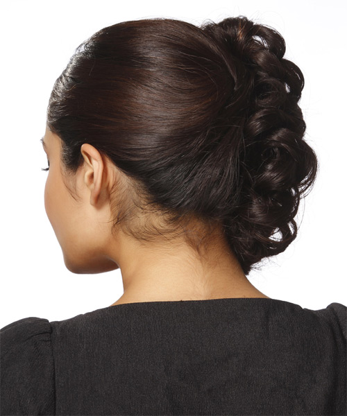 Formal Curly Updo Hairstyle - Dark Brunette - side view 1