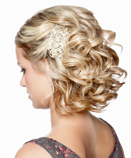 Formal Curly Updo Hairstyle - Medium Blonde - side view