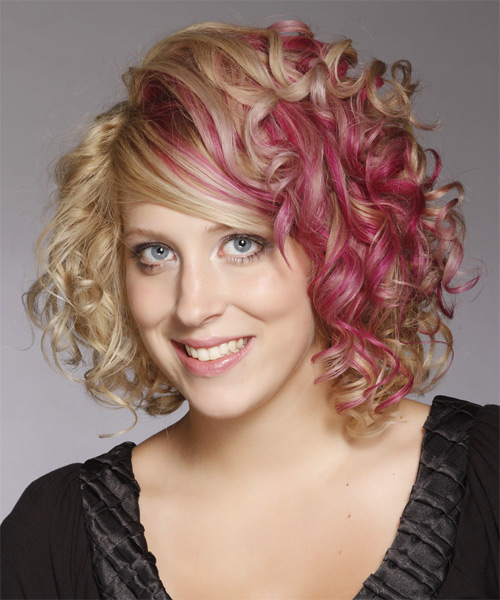 Medium Curly Formal Hairstyle with Side Swept Bangs - Light Blonde (Strawberry) Hair Color - side view