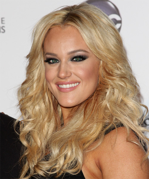 Lacey Schwimmer Long Wavy Hairstyle - Medium Blonde (Golden) - side view