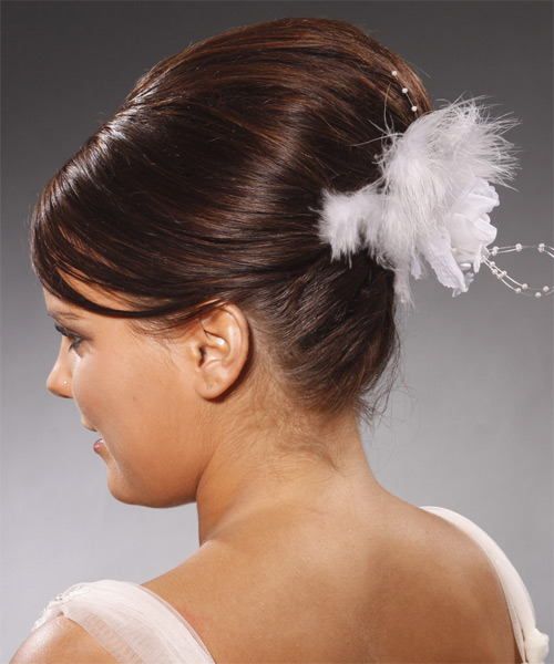 Updo Long Straight Formal Wedding with Side Swept Bangs (Chocolate) - side view