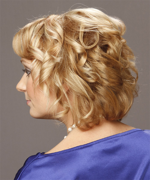 Short Curly Formal Hairstyle (Golden) - side view 1