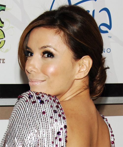 Eva Longoria Parker Formal Straight Updo Hairstyle - side view 1