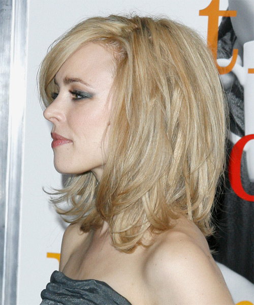 Rachel McAdams Medium Straight Formal  with Side Swept Bangs - side view