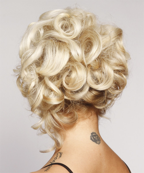 Formal Curly Updo Hairstyle - Light Blonde (Platinum) - side view