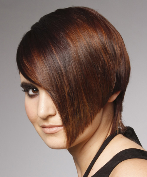 Short asymmetrical hairstyle - side view