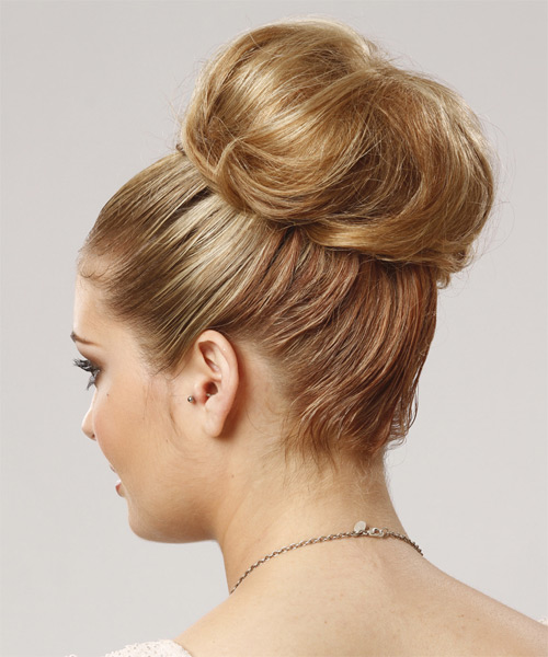 Formal Straight Updo Hairstyle - Dark Blonde - side view 1