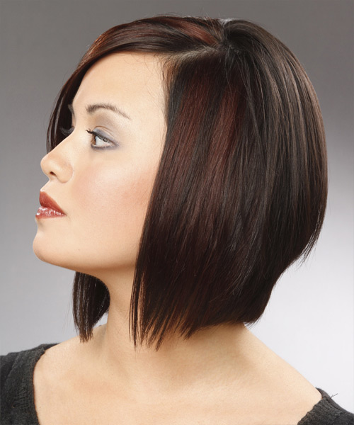 Medium Straight Formal Bob Hairstyle - Black (Chestnut) Hair Color - side view