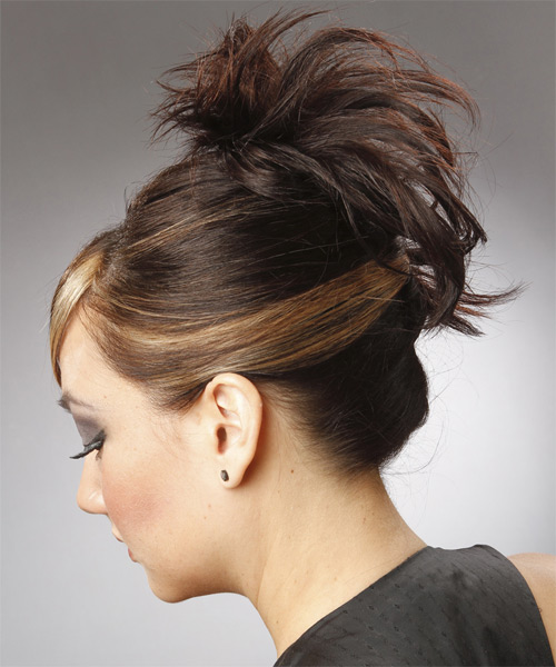 Updo Long Straight Casual  with Side Swept Bangs - Dark Brunette - side view