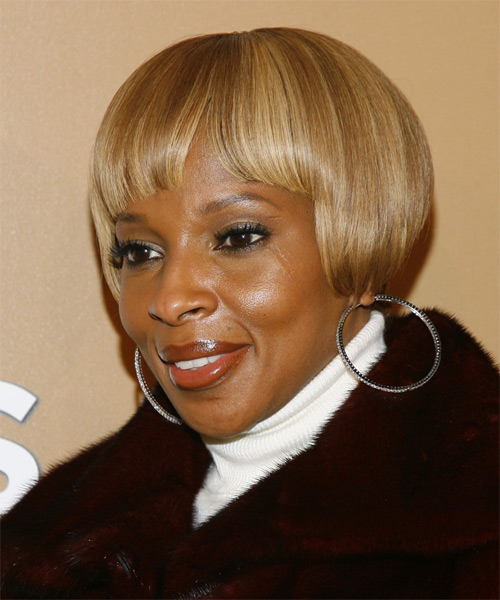 Mary J.Blige Short Straight Hairstyle - side view 1