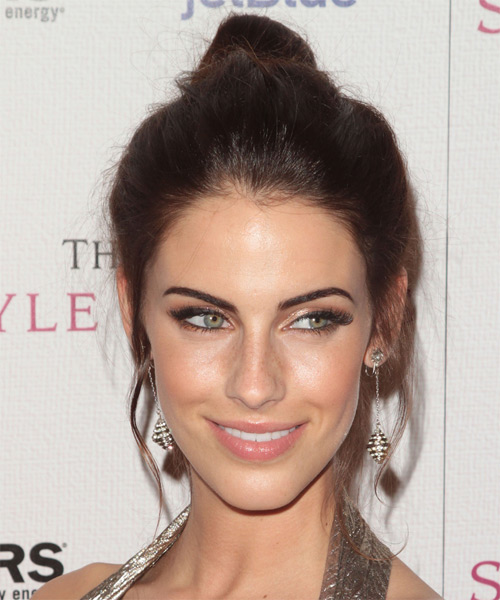 Jessica Lowndes Casual Straight Updo Hairstyle - side view 1