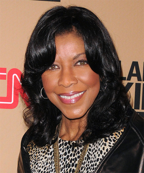 Natalie Cole Medium Wavy Formal Hairstyle - side view