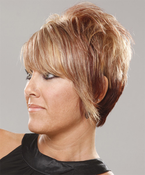 Short Straight blonde Hairstyle with bangs - side view
