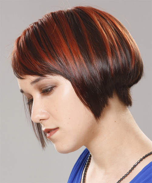 Short Straight Formal Bob Hairstyle with Side Swept Bangs - Dark Red Hair Color - side view