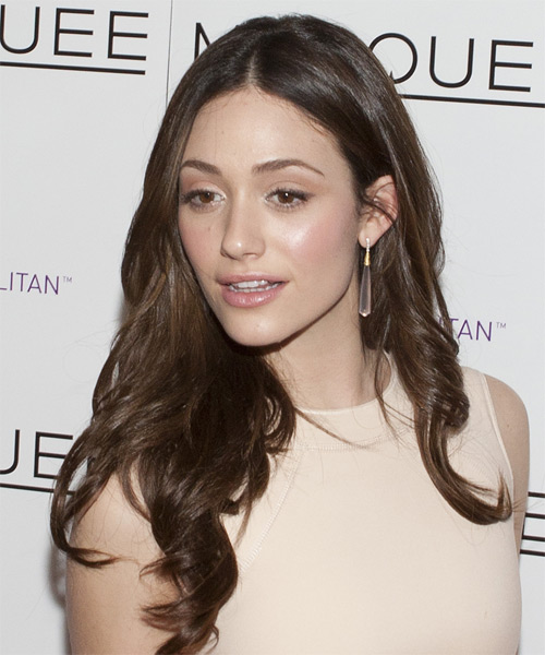 Emmy Rossum Long Wavy Formal Hairstyle - Dark Brunette Hair Color - side view