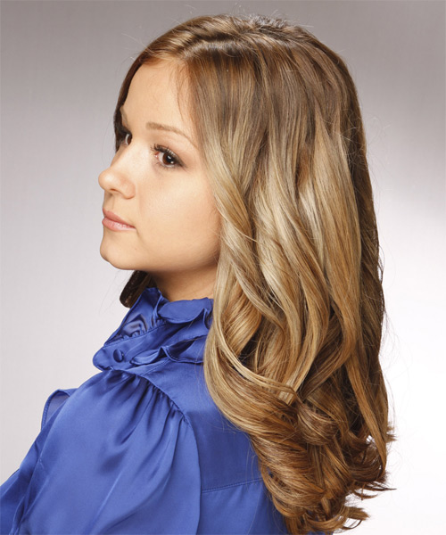 Long Curly Formal Hairstyle - Light Brunette - side view