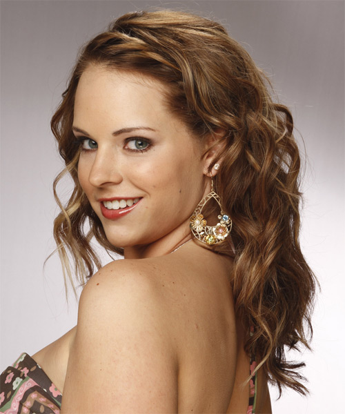 Long Curly Formal Hairstyle - Medium Brunette (Caramel) Hair Color - side view