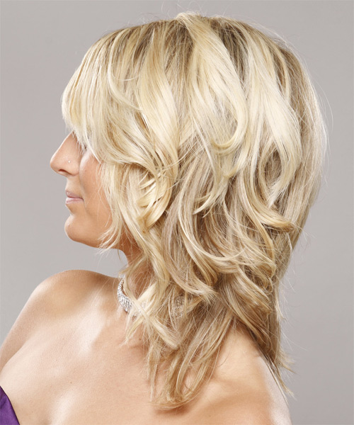 Medium Wavy Formal  - Light Blonde - side view