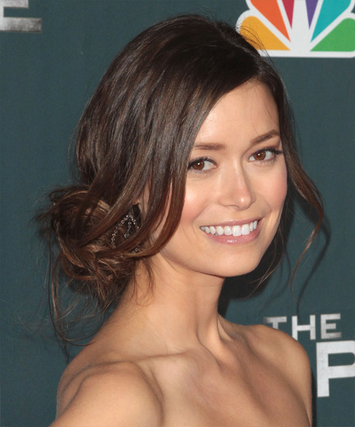 Summer Glau Casual Straight Updo Hairstyle - side view 1