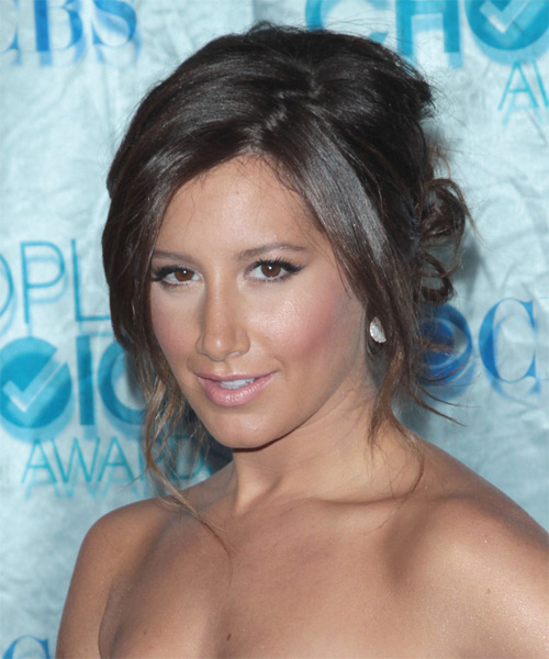 Ashley Tisdale Updo Long Straight Casual Updo Hairstyle - side view