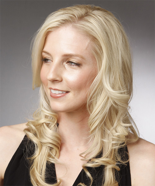 Long Wavy Formal Hairstyle - Light Blonde (Platinum) - side view 1