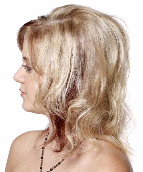 Medium Wavy Casual Hairstyle with Side Swept Bangs - Light Blonde Hair Color - side view