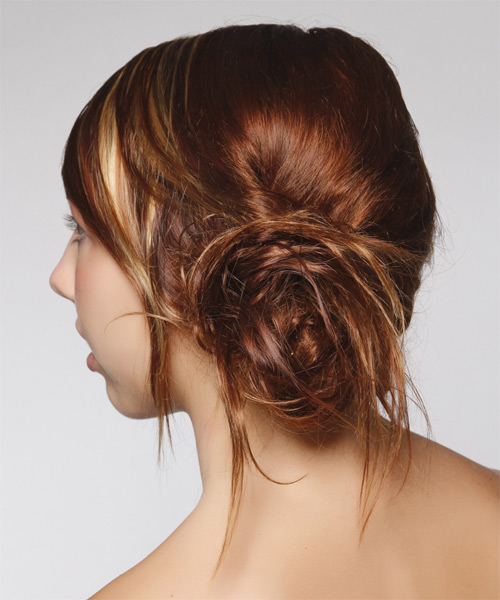 Casual Straight Updo Hairstyle - Dark Red - side view 1
