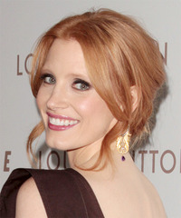 Jessica Chastain Updo Long Curly Formal  - side view