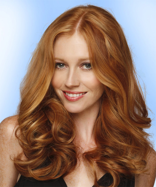 Long Wavy Formal Hairstyle (Copper) - side view 1