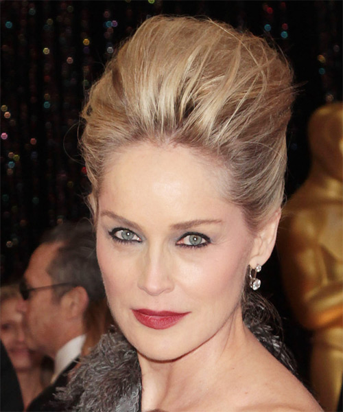 Sharon Stone - Casual Updo Long Straight Hairstyle - side view