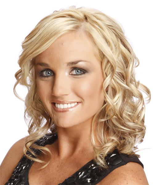 Long Curly Formal Hairstyle - Light Blonde Hair Color - side view
