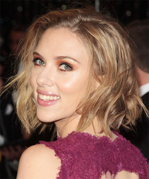 Scarlett Johansson Updo Long Straight Casual Updo Hairstyle - side view