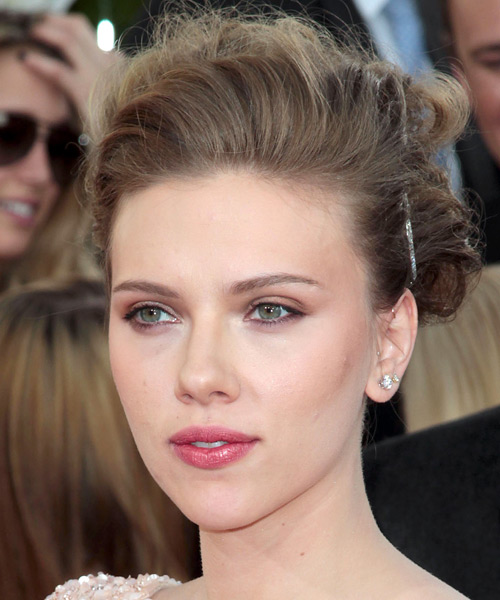 Scarlett Johansson Curly Formal Updo Hairstyle - Dark Blonde (Ash) Hair Color - side view