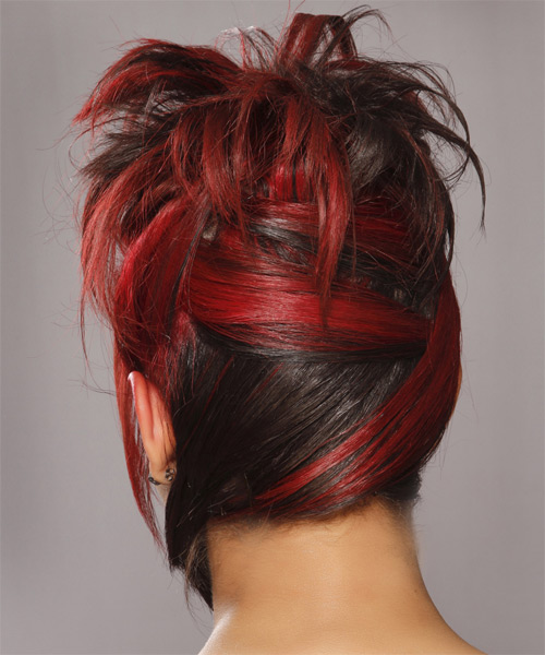Updo Long Straight Formal Wedding with Side Swept Bangs - Medium Red - side view