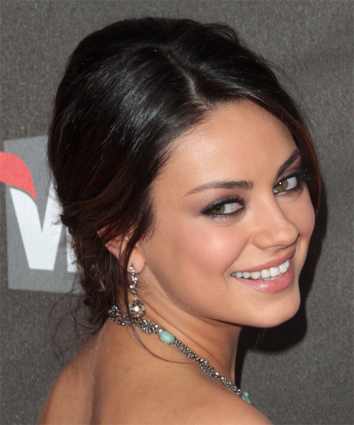 Mila Kunis Long Straight Formal Updo Hairstyle Dark