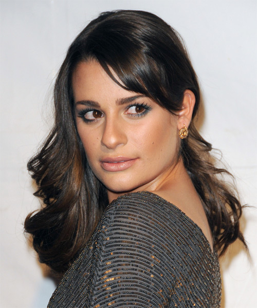 Lea Michele Long Wavy Hairstyle - Medium Brunette - side view 1