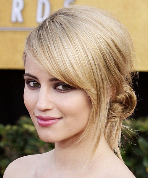 Dianna Agron Formal Straight Updo Hairstyle - side view 1