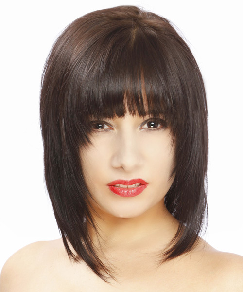 Medium Straight Formal Hairstyle - Dark Brunette Hair Color - side view