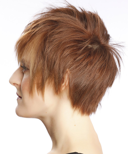 Short Straight Alternative Hairstyle with Layered Bangs - Light Brunette (Auburn) Hair Color - side view