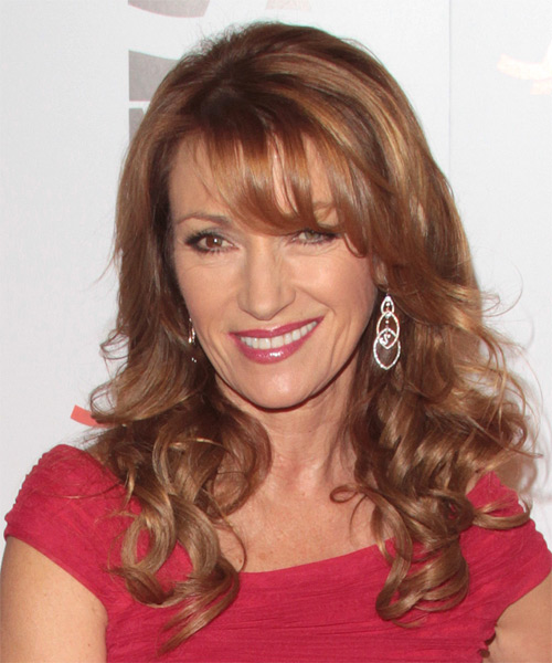 Jane Seymour Long Wavy Hairstyle - Medium Red (Copper) - side view