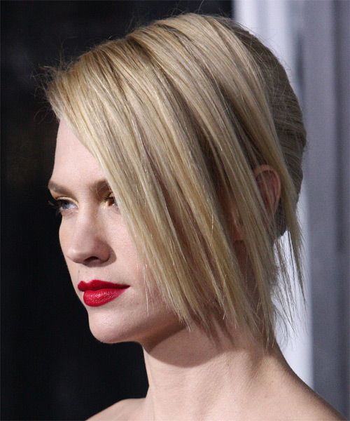 January Jones Formal Straight Updo Hairstyle - Light Blonde - side view 1
