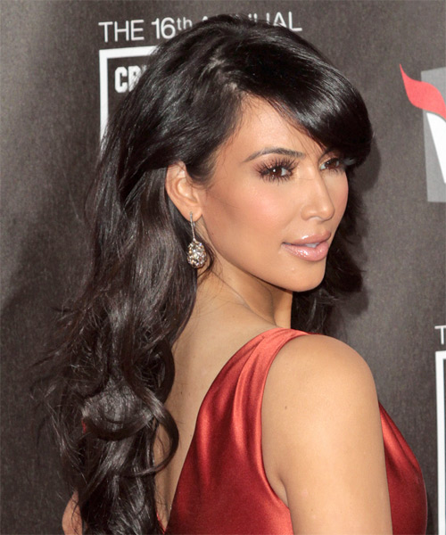 Kim Kardashian Long Wavy Formal Hairstyle with Side Swept Bangs - Dark Brunette (Mocha) Hair Color - side view