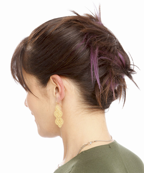Updo Long Straight Casual  with Layered Bangs - Medium Brunette - side view